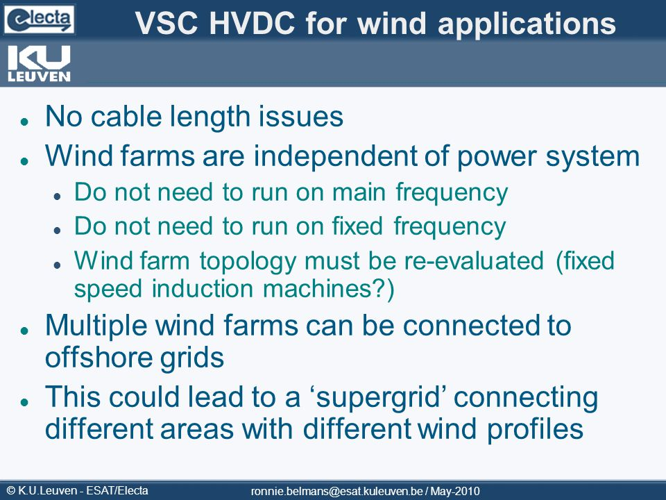 VSC HVDC for wind applications