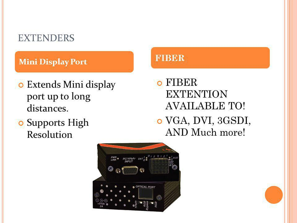 extenders FIBER EXTENTION AVAILABLE TO!