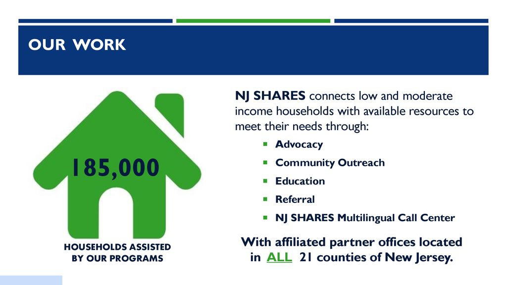Our mission New Jersey SHARES, Inc  (NJ SHARES) is a