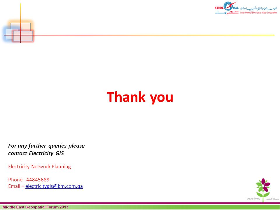 Thank you For any further queries please contact Electricity GIS
