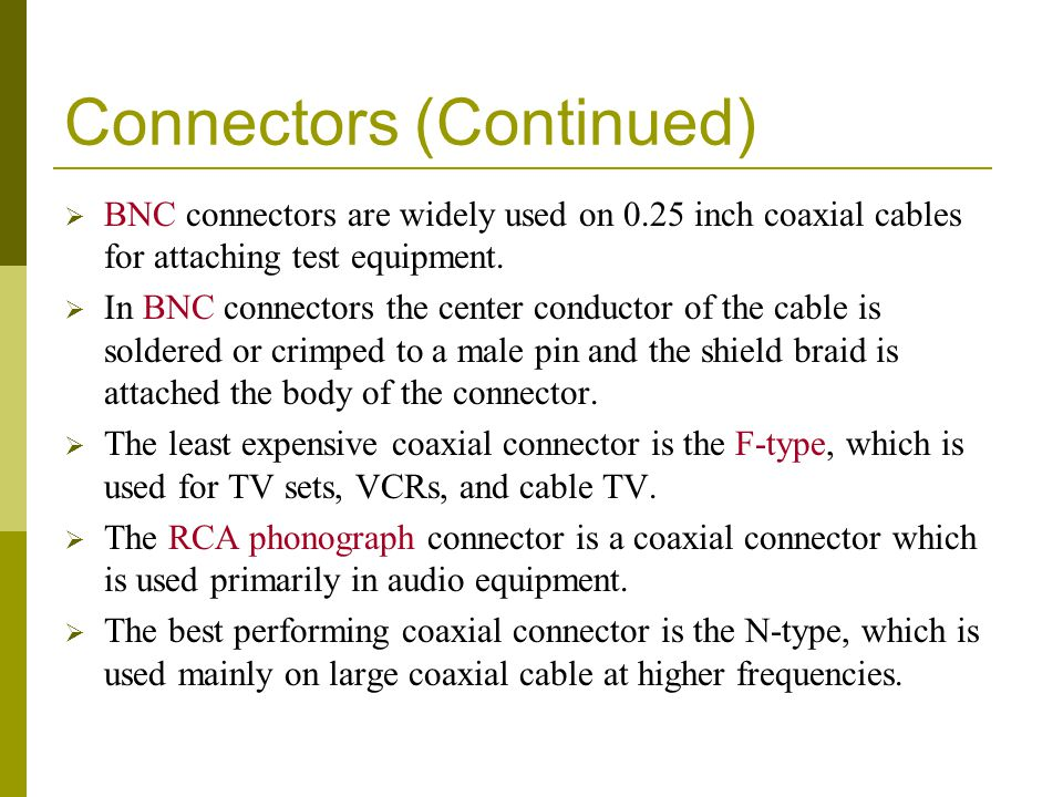 Connectors (Continued)