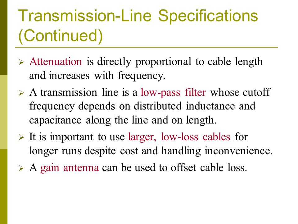 Transmission-Line Specifications (Continued)