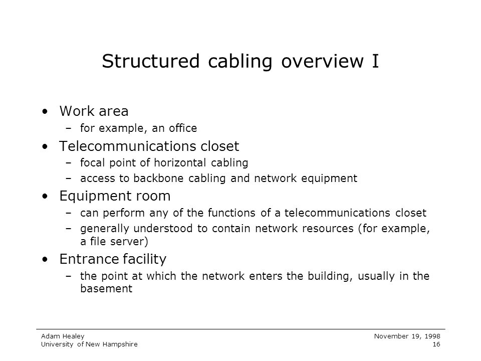 Structured cabling overview I