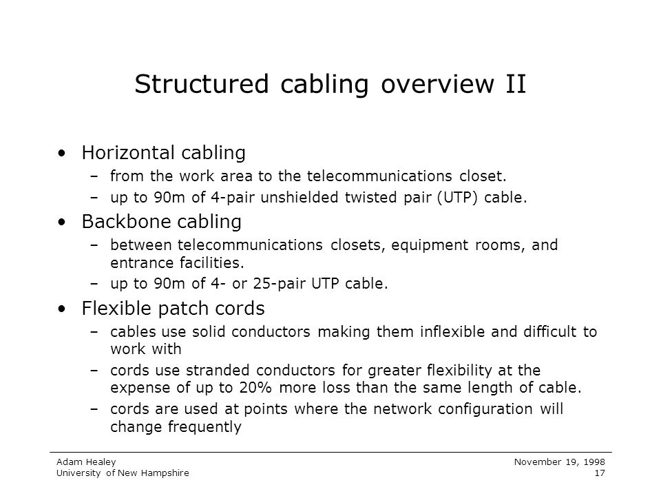 Structured cabling overview II