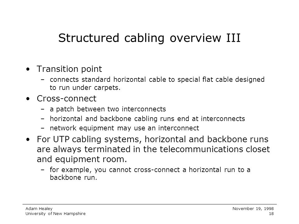 Structured cabling overview III