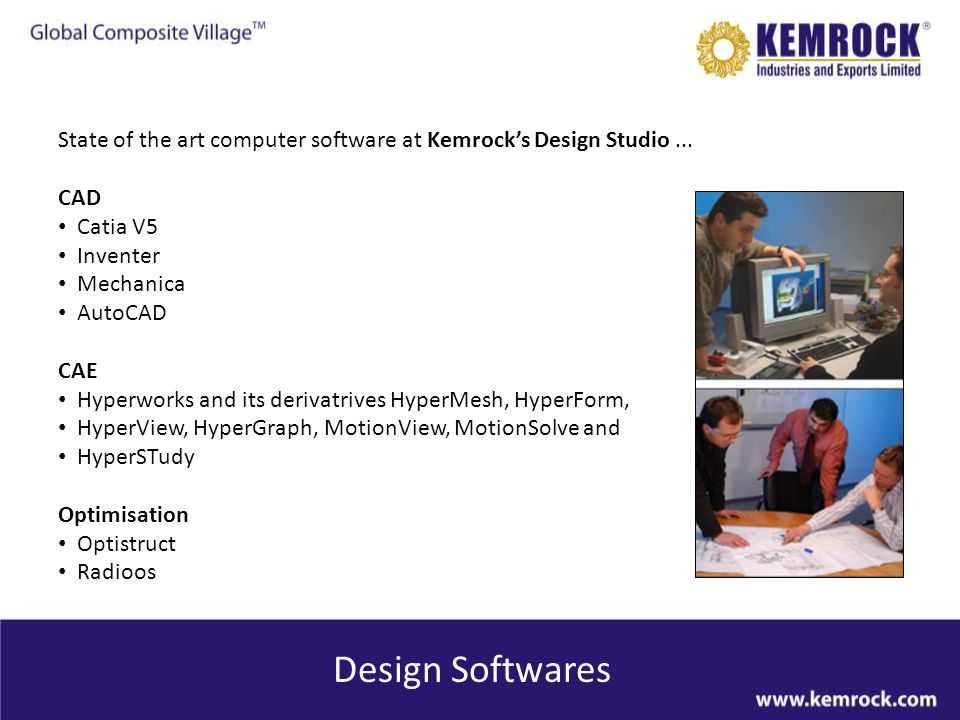 State of the art computer software at Kemrock's Design Studio ...
