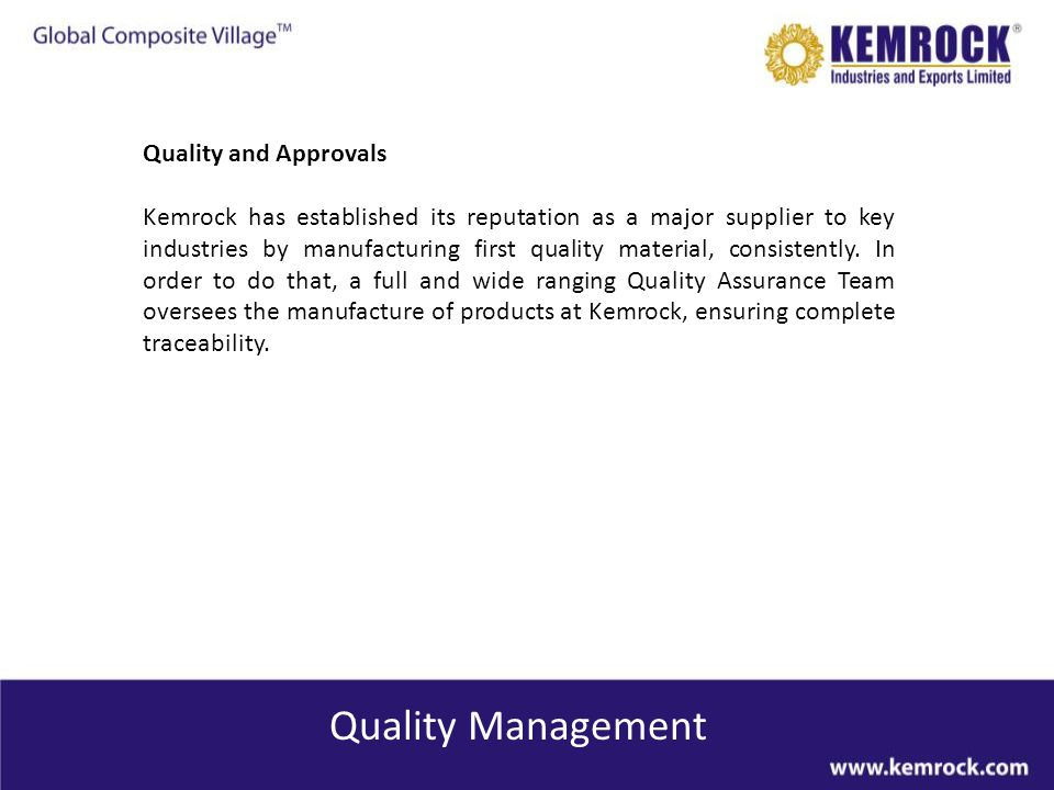 Quality Management Quality and Approvals