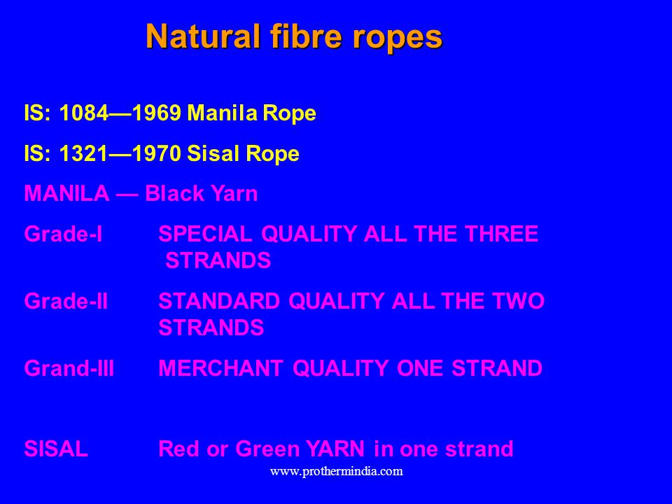 Natural fibre ropes IS: 1084—1969 Manila Rope IS: 1321—1970 Sisal Rope