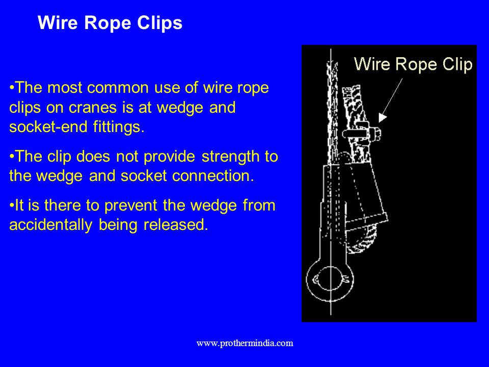 Wire Rope Clips The most common use of wire rope clips on cranes is at wedge and socket-end fittings.