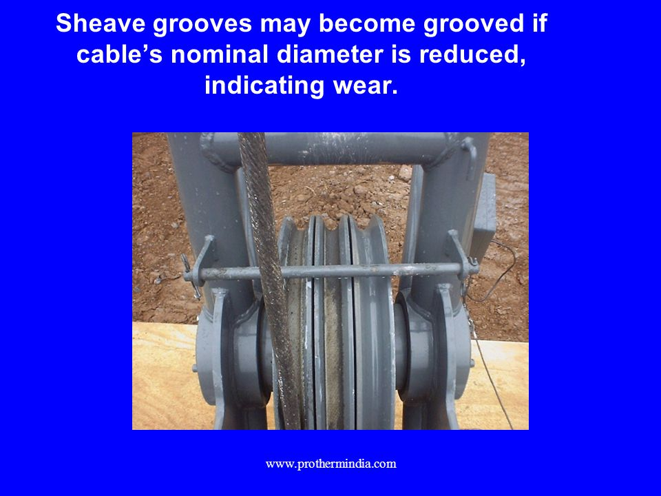 Sheave grooves may become grooved if cable's nominal diameter is reduced, indicating wear.