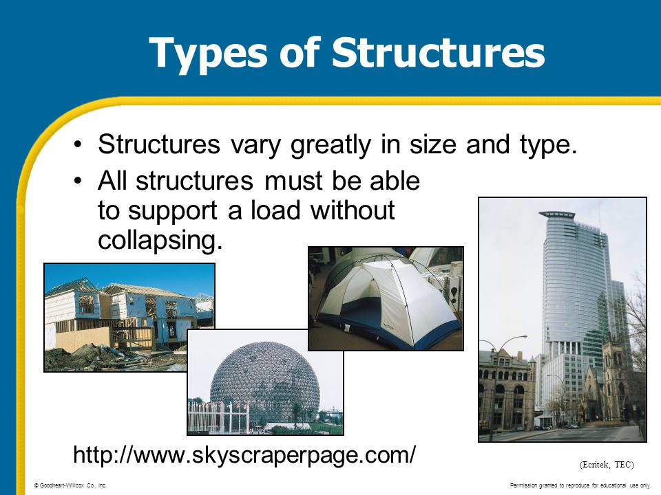 Types of Structures Structures vary greatly in size and type.