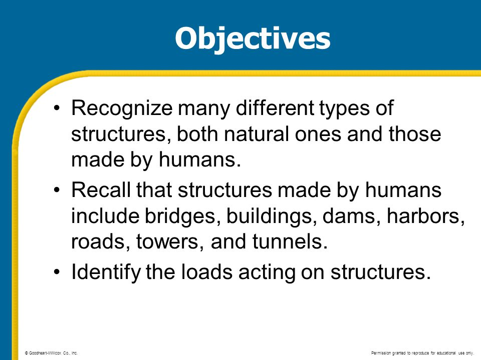 Objectives Recognize many different types of structures, both natural ones and those made by humans.