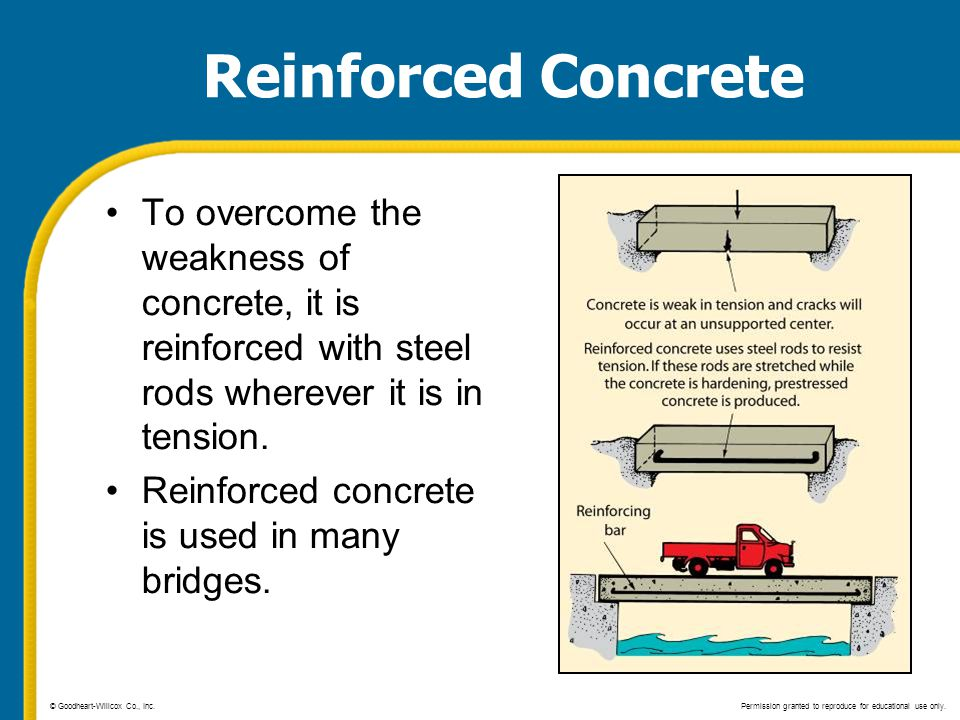 Reinforced Concrete To overcome the weakness of concrete, it is reinforced with steel rods wherever it is in tension.