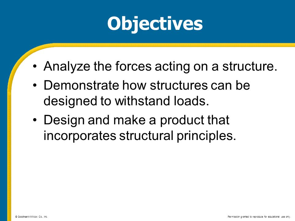 Objectives Analyze the forces acting on a structure.