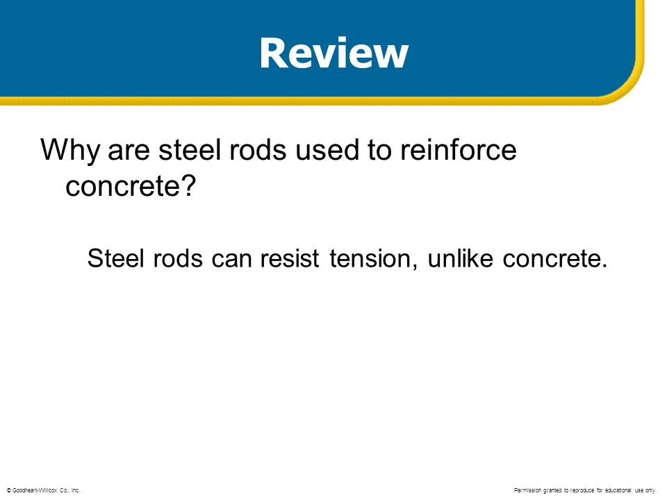 Review Why are steel rods used to reinforce concrete