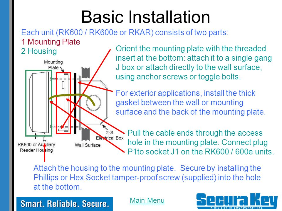 Basic Installation Each unit (RK600 / RK600e or RKAR) consists of two parts: 1 Mounting Plate. 2 Housing.