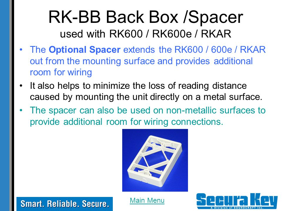 RK-BB Back Box /Spacer used with RK600 / RK600e / RKAR