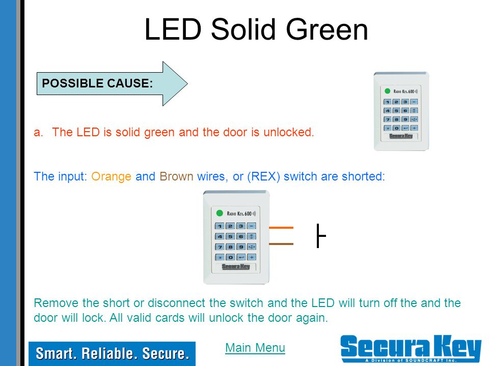 LED Solid Green POSSIBLE CAUSE: