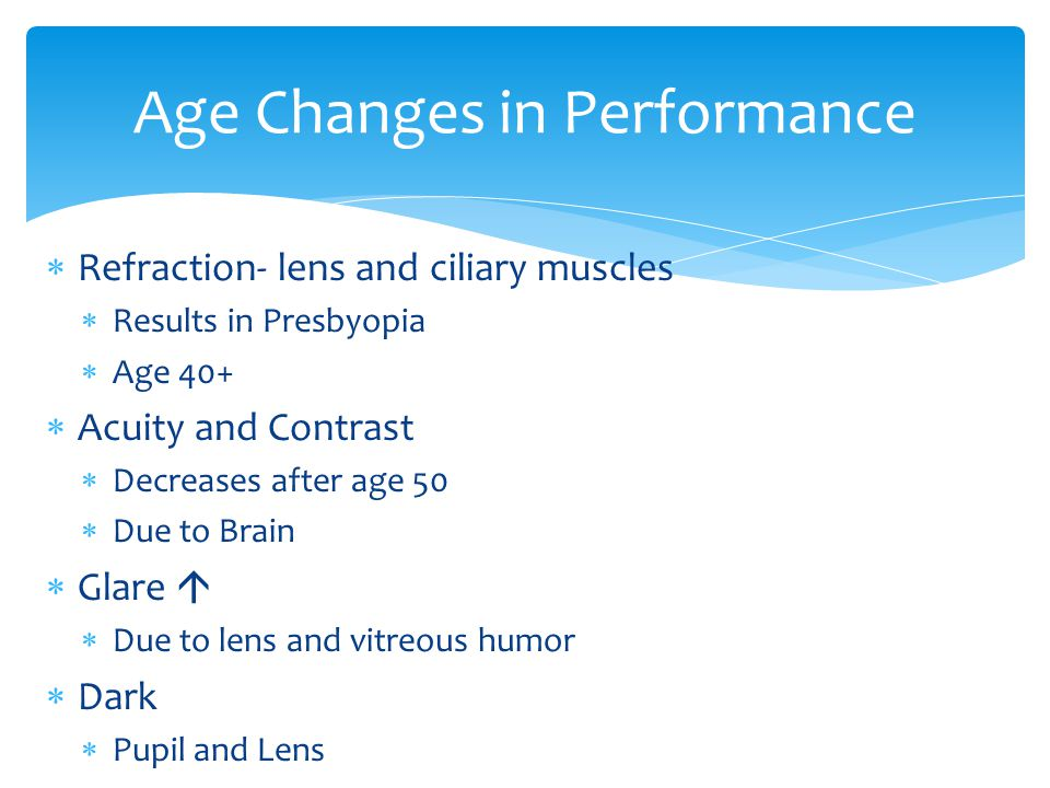 Age Changes in Performance