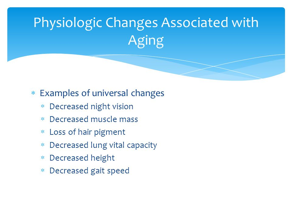 Physiologic Changes Associated with Aging