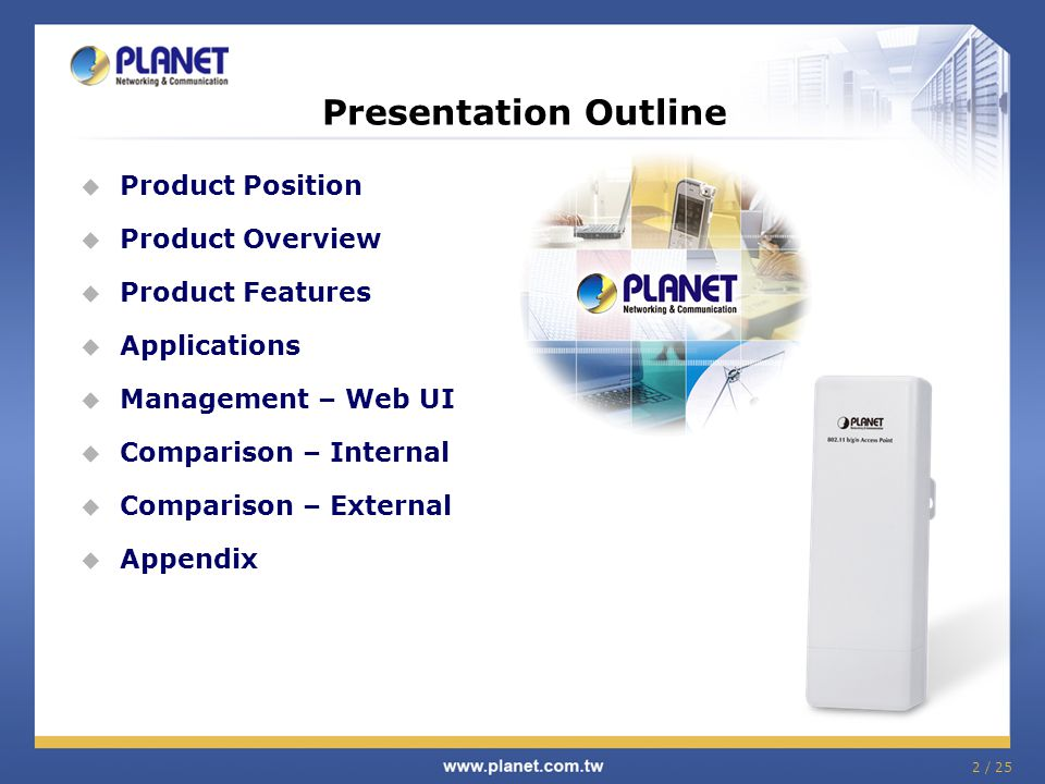 Presentation Outline Product Position Product Overview