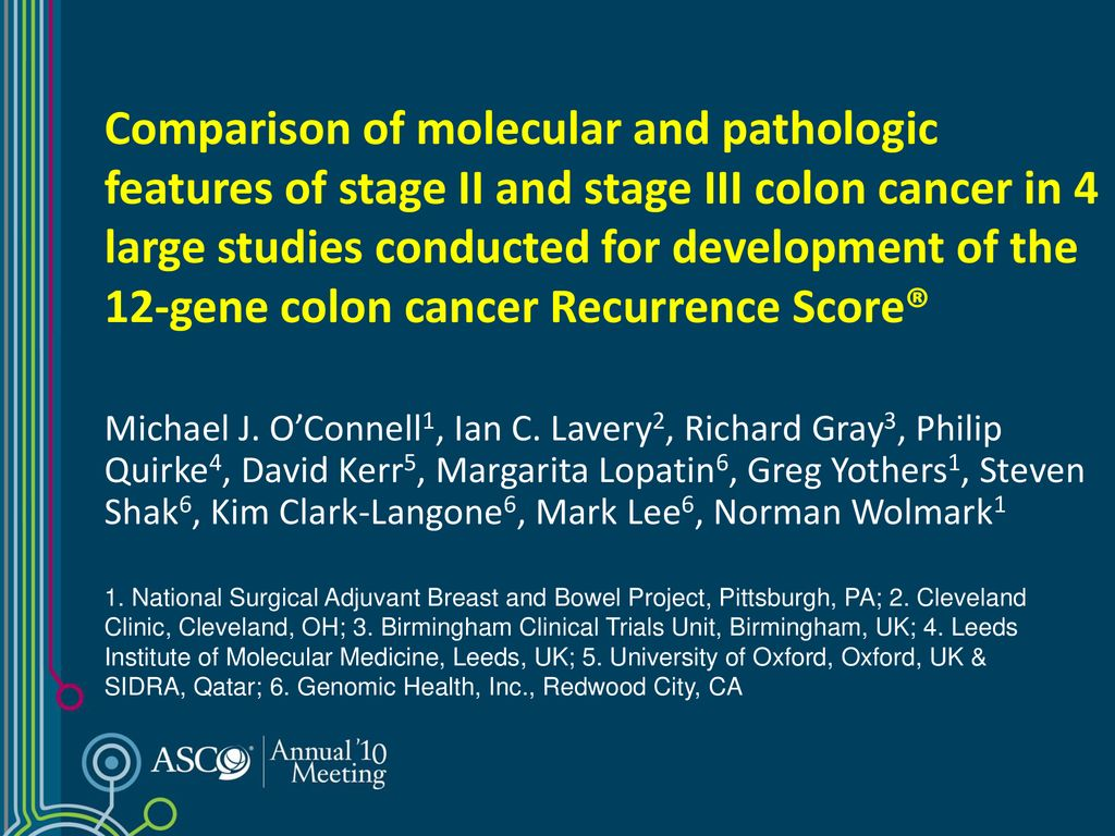 Comparison of molecular and pathologic features of stage II