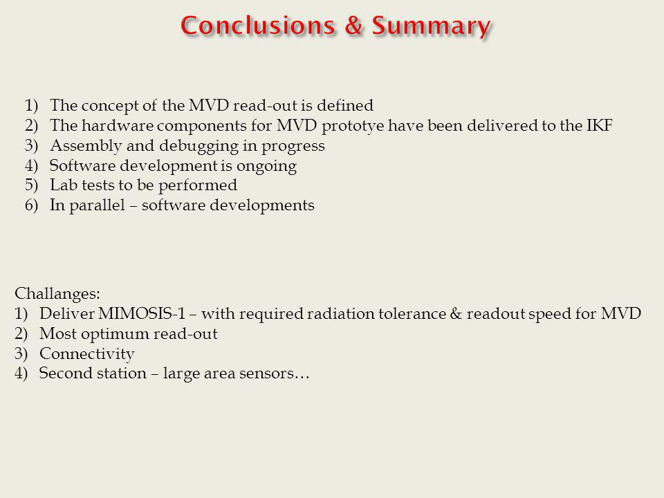 Conclusions & Summary The concept of the MVD read-out is defined