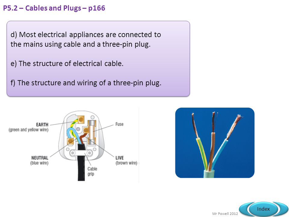 P5.2 – Cables and Plugs – p166 d) Most electrical appliances are connected to. the mains using cable and a three-pin plug.