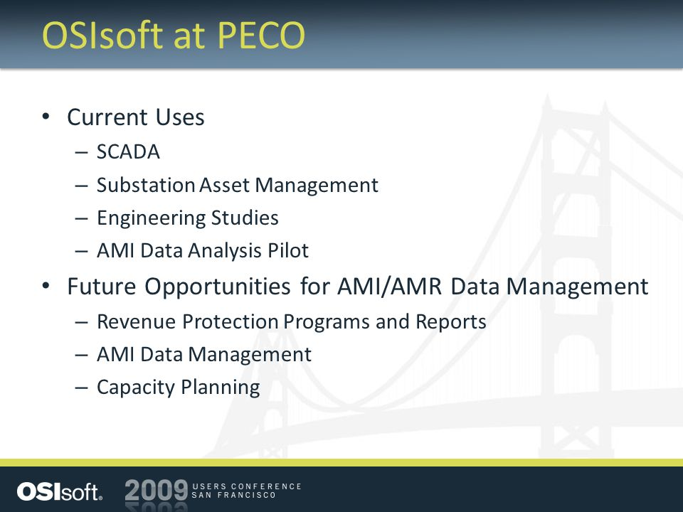 OSIsoft at PECO Current Uses