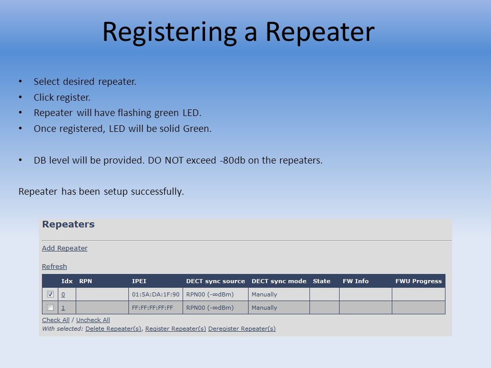 Registering a Repeater