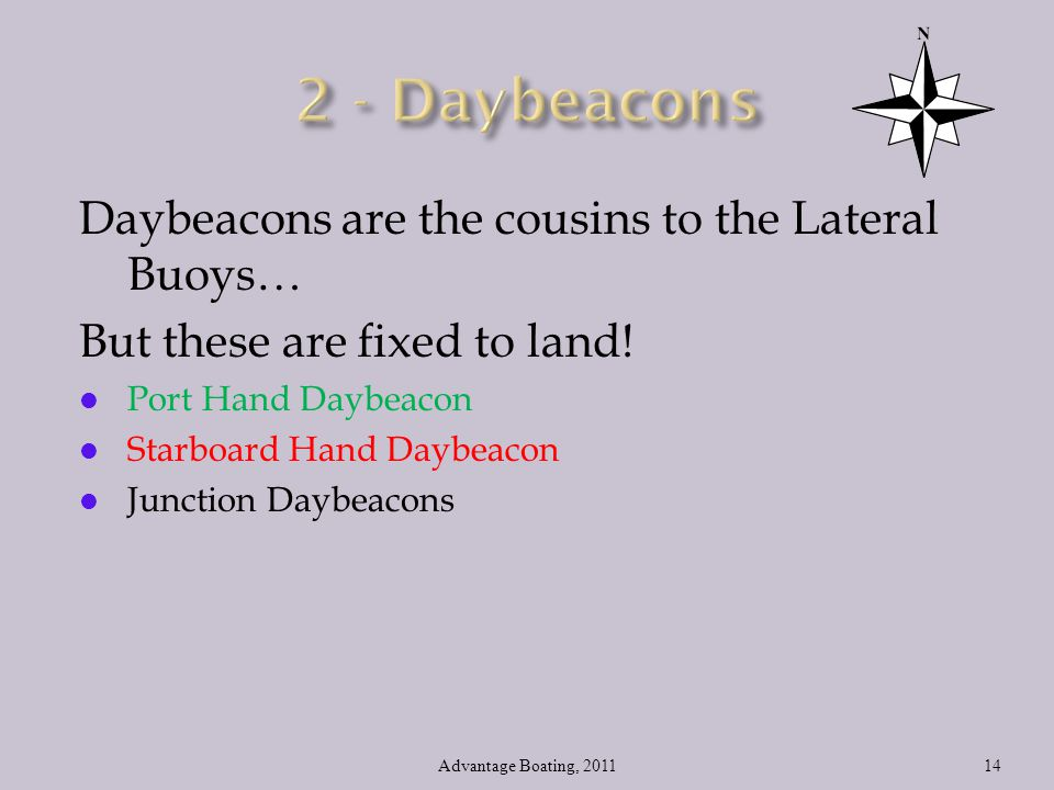 2 - Daybeacons Daybeacons are the cousins to the Lateral Buoys…