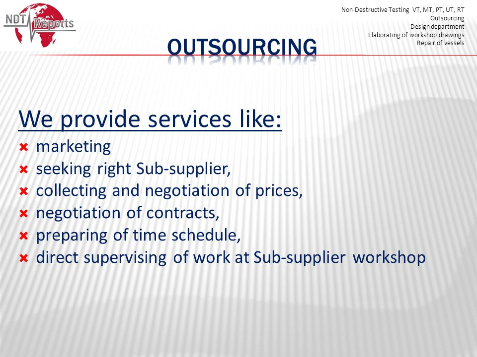 We provide services like: