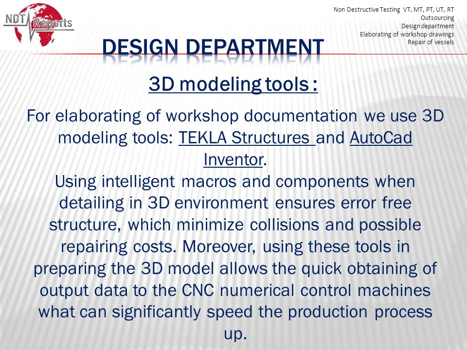 DESIGN DEPARTMENT 3D modeling tools :