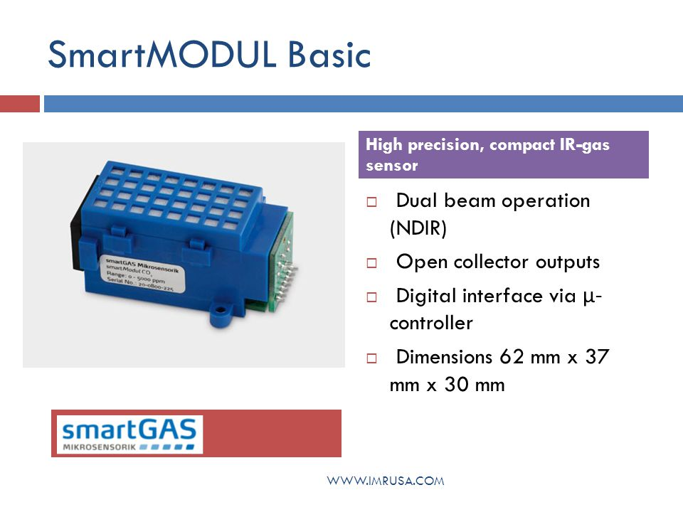 SmartMODUL Basic Dual beam operation (NDIR) Open collector outputs