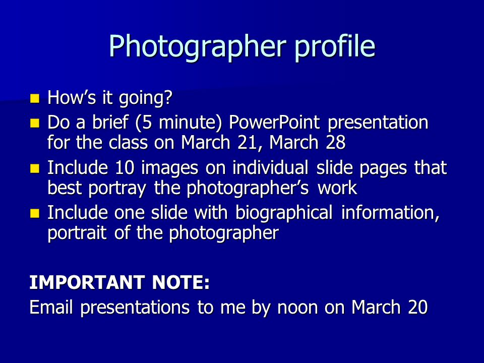 Photographer profile How's it going
