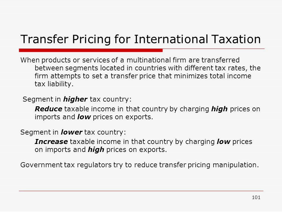 Transfer Pricing for International Taxation