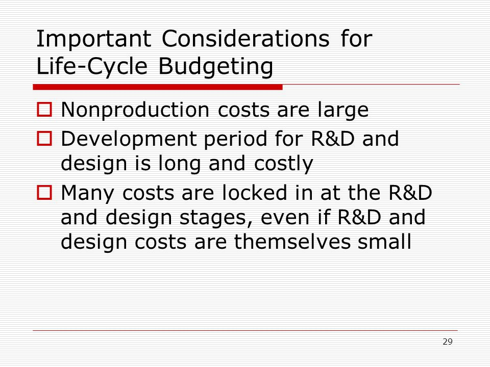 Important Considerations for Life-Cycle Budgeting