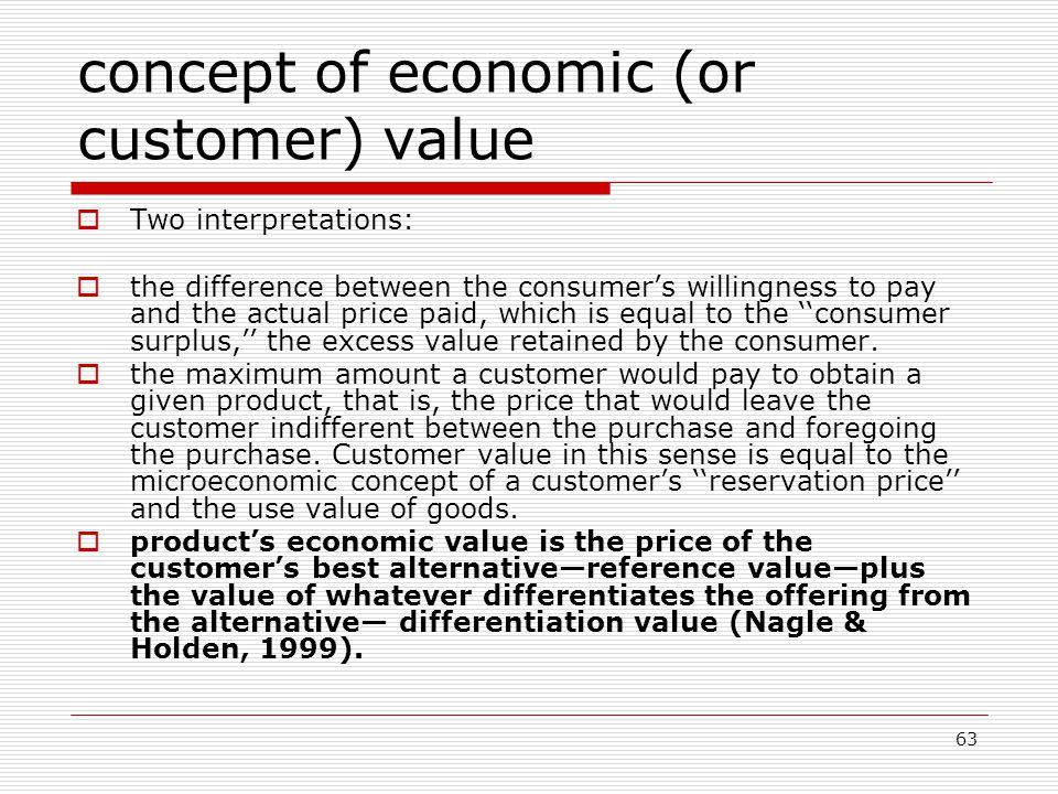 concept of economic (or customer) value