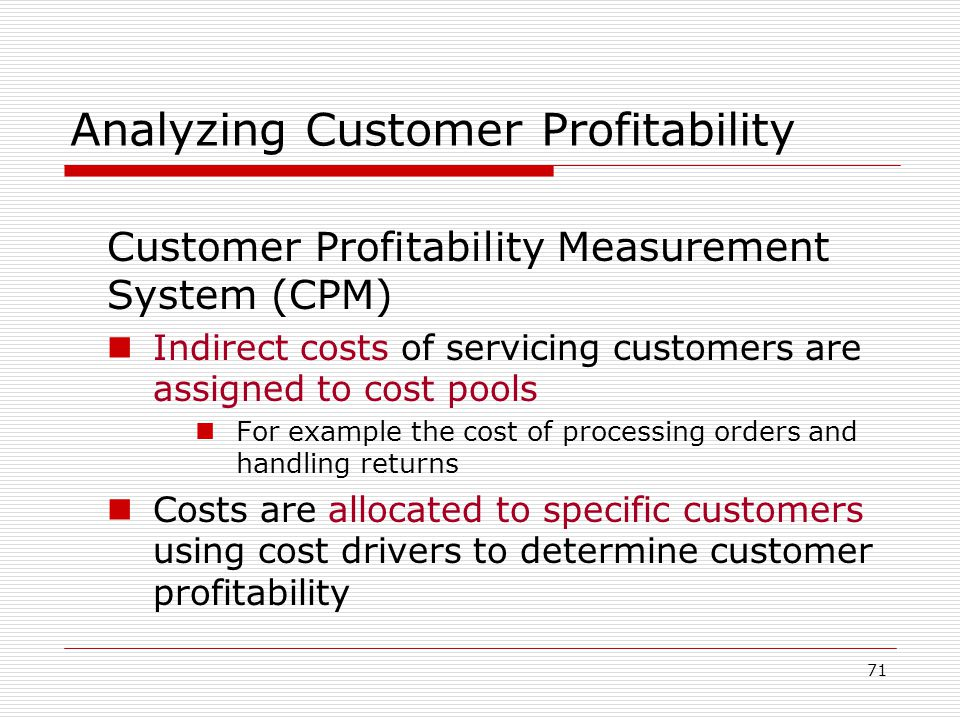 Analyzing Customer Profitability