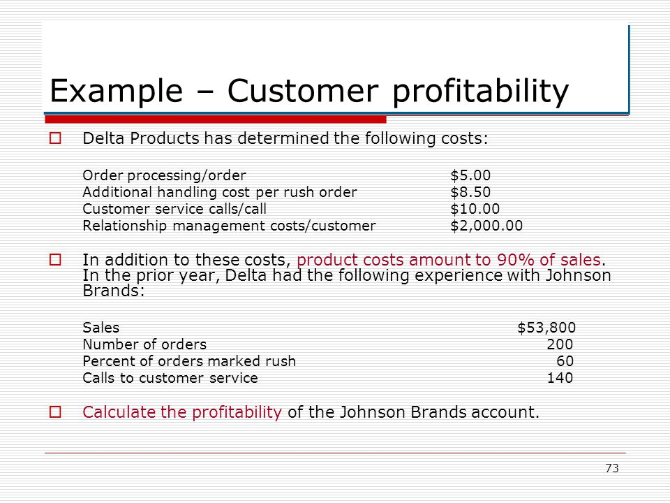 Example – Customer profitability
