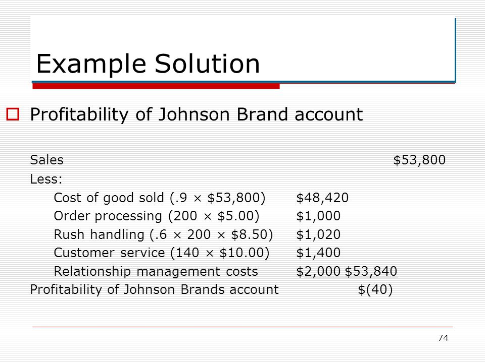 Example Solution Profitability of Johnson Brand account Sales $53,800