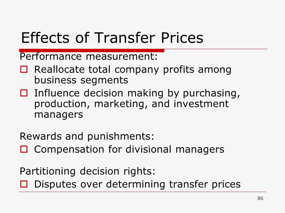 Effects of Transfer Prices