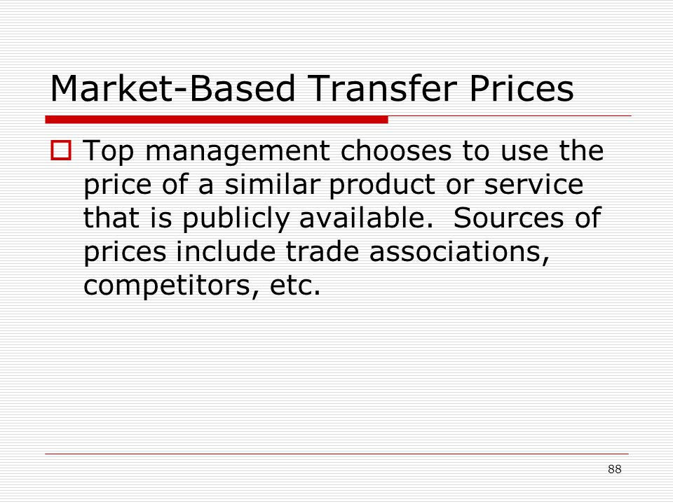 Market-Based Transfer Prices