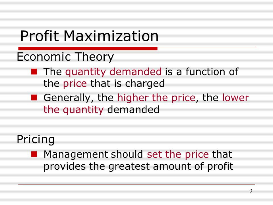 Profit Maximization Economic Theory Pricing