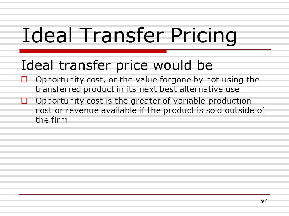 Ideal Transfer Pricing