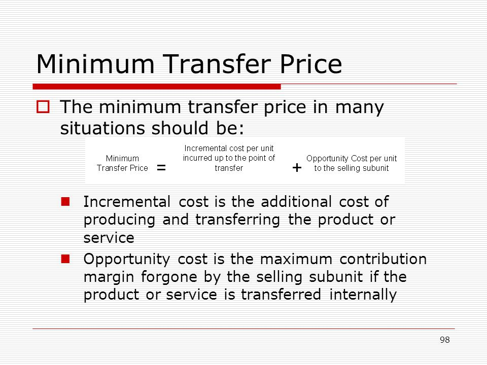 Minimum Transfer Price