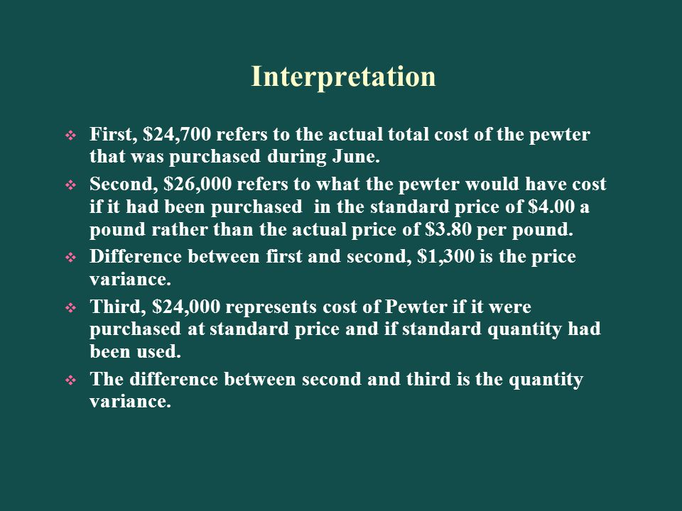 Interpretation First, $24,700 refers to the actual total cost of the pewter that was purchased during June.