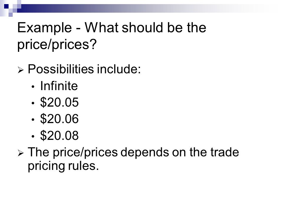 Example - What should be the price/prices