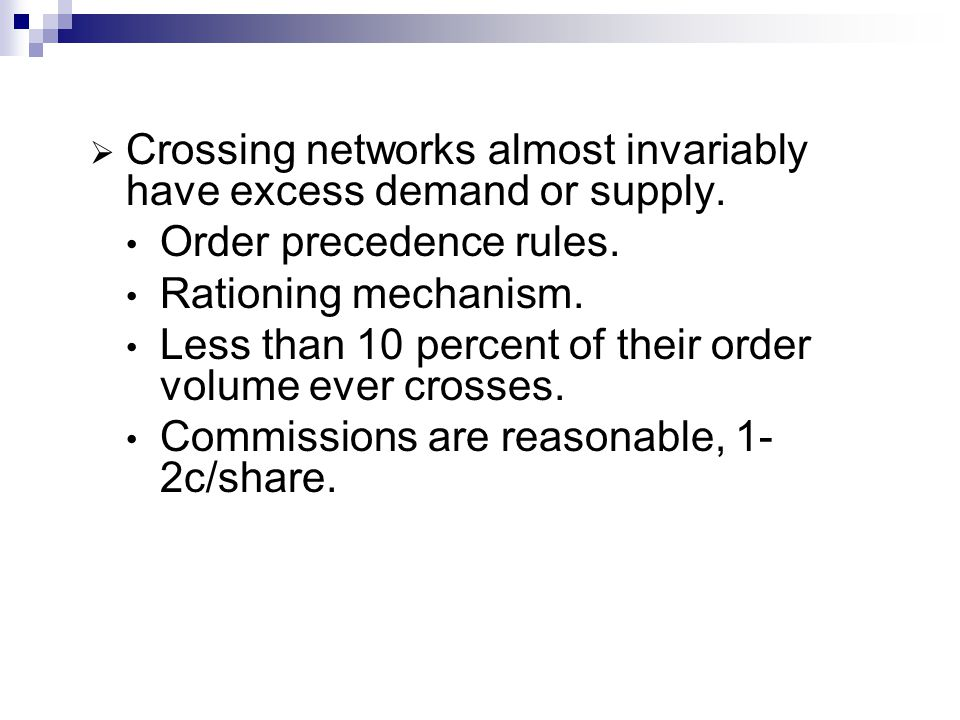 Crossing networks almost invariably have excess demand or supply.