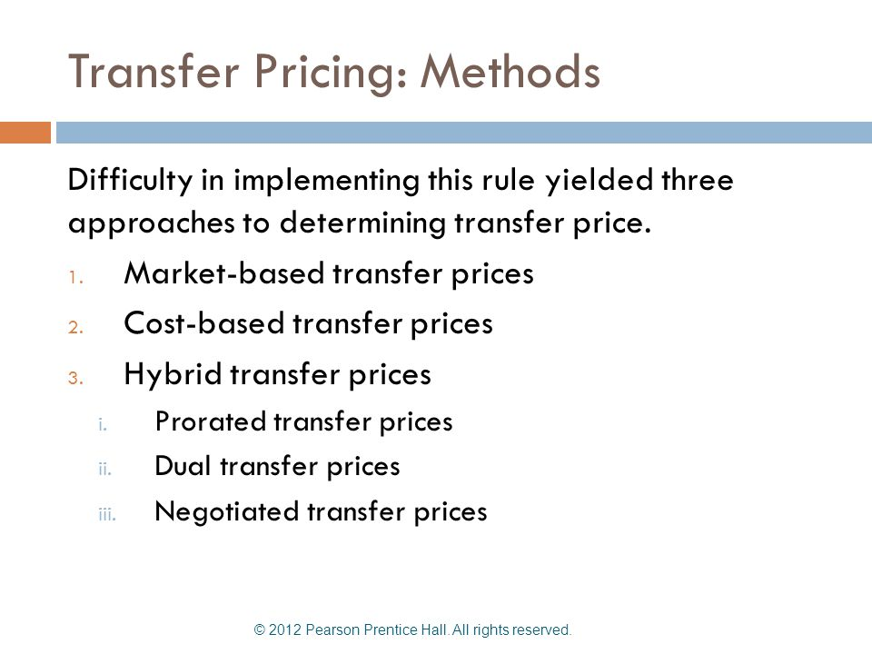 Transfer Pricing: Methods